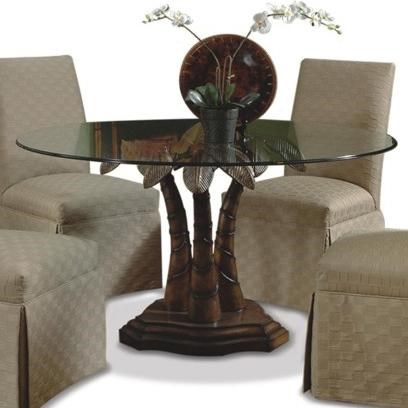Attrayant CMI Ledo Round Glass Dining Table With Palm Tree Pedestal Base