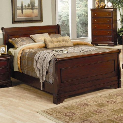 Coaster Versailles Queen Sleigh Bed with Deep Mahogany Stain ...