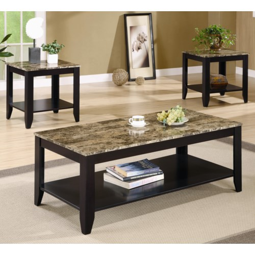 Coaster Occasional Table Sets 3 Piece Set With Shelf And Marble Look Top Fine Furniture