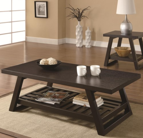 coaster occasional group casual coffee table with slatted bottom