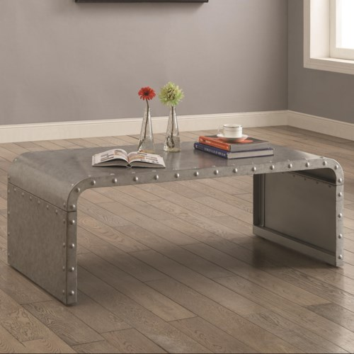 Coaster 70434 Metal Coffee Table With Nailhead Accents Coaster Fine Furniture