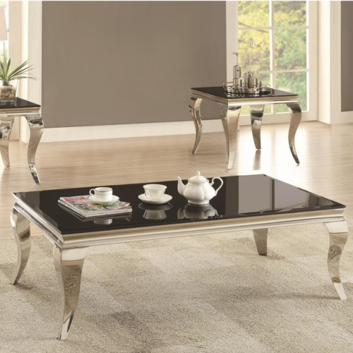 Coaster 705010 Glam Coffee Table With Queen Anne Legs Fine Furniture