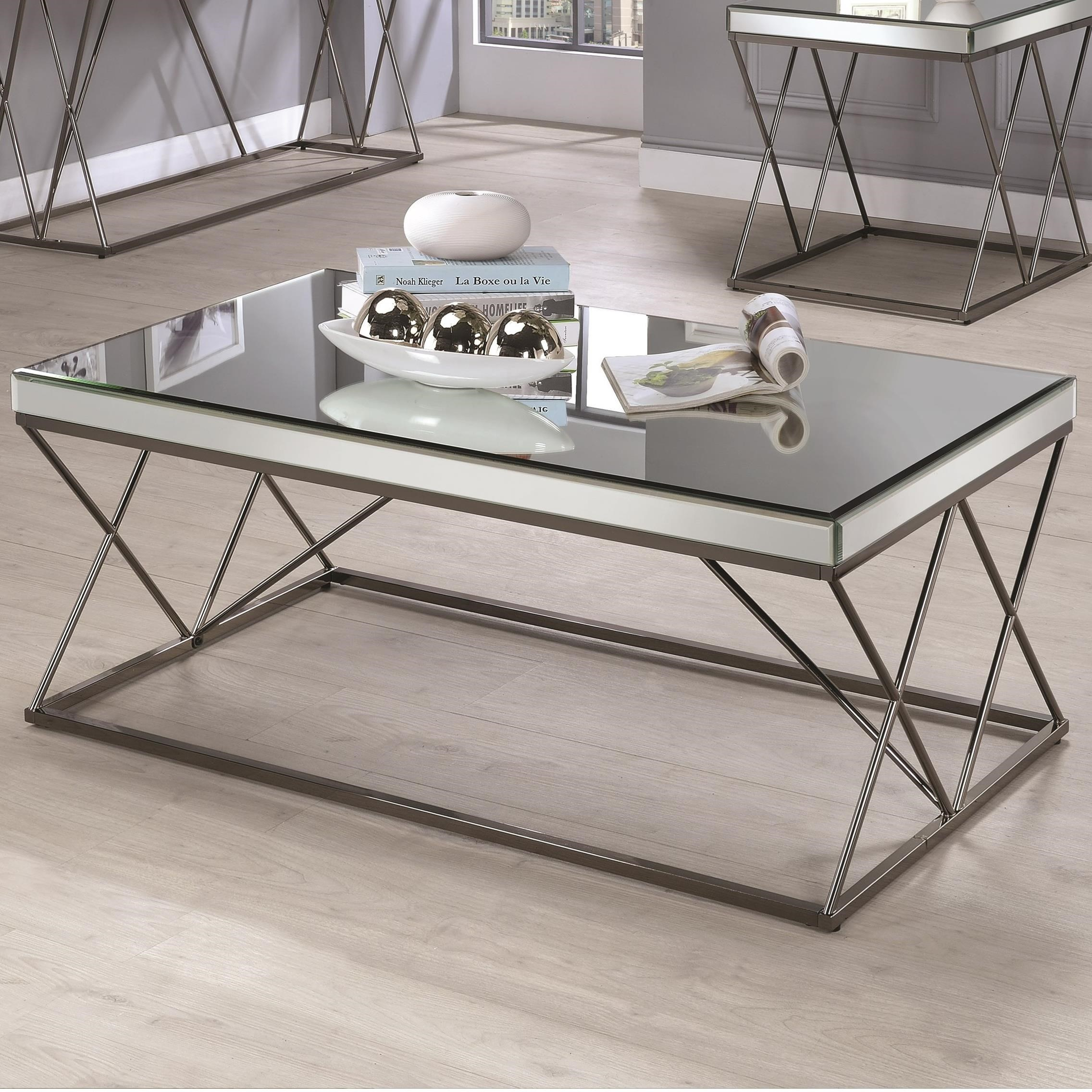 Contemporary Mirrored Furniture With Contemporary Mirrored Furniture Coaster 70547 Coffee Table With Metal Legs Fine Furniture Contemporary Mirrored Furniture Furniture