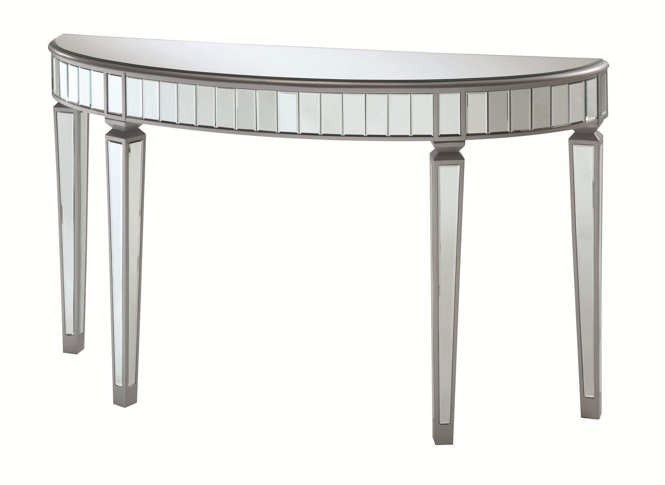 Superbe Coaster Accent Cabinets Half Oval Mirrored Console Table   Coaster Fine  Furniture