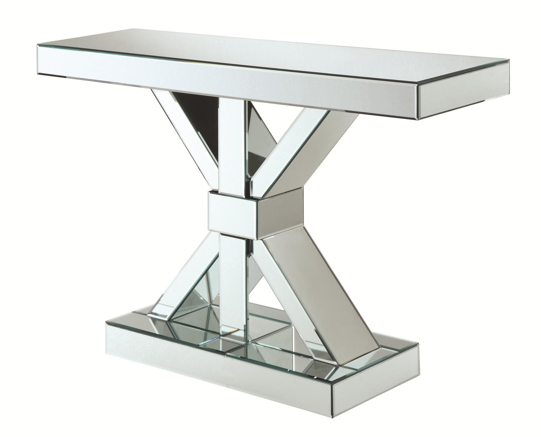 Coaster Accent Cabinets Thick Mirrored Console Table   Coaster Fine  Furniture