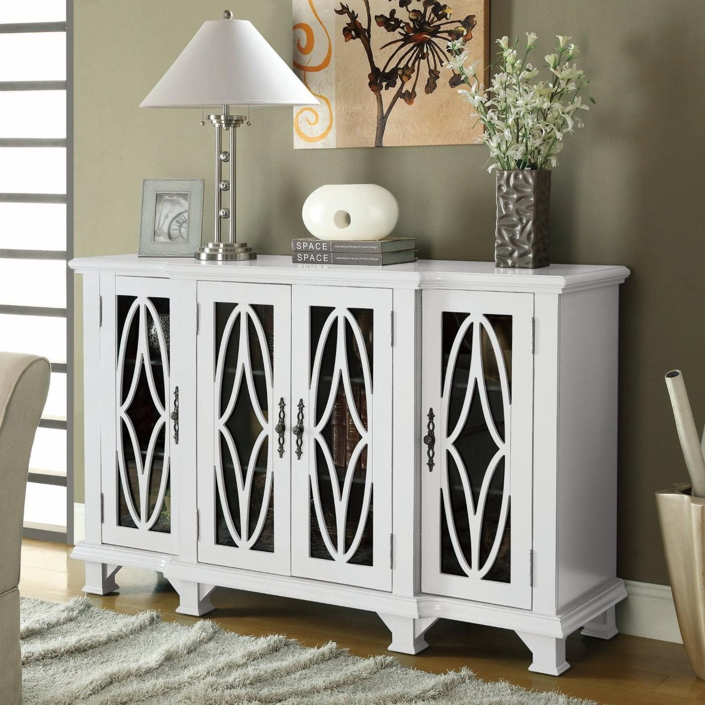 Coaster Accent Cabinets Large White Cabinet With 4 Glass Doors   Coaster  Fine Furniture