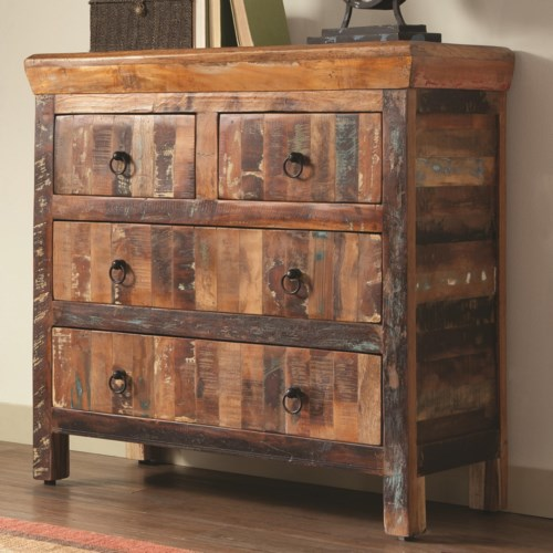 Reclaimed Wood Cabinets coaster accent cabinets 4 drawer reclaimed wood cabinet - coaster