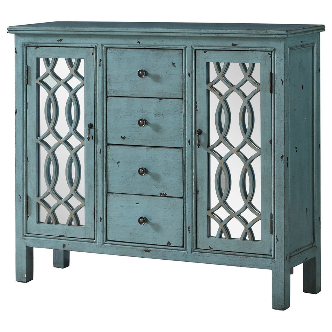 Coaster Accent Cabinets Antique Blue Accent Table With Inlay Door Design    Coaster Fine Furniture