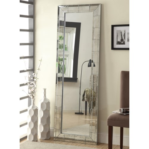 Coaster Accent Mirrors Floor Mirror with Antique Silver Finish Frame ...
