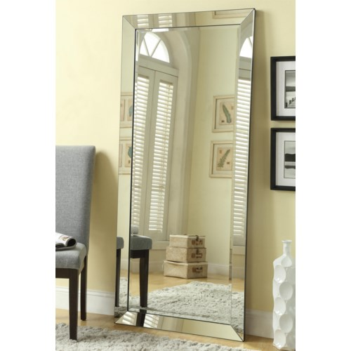 coaster accent mirrors contemporary floor mirror with mirrored frame coaster fine furniture - Mirror With Mirror Frame