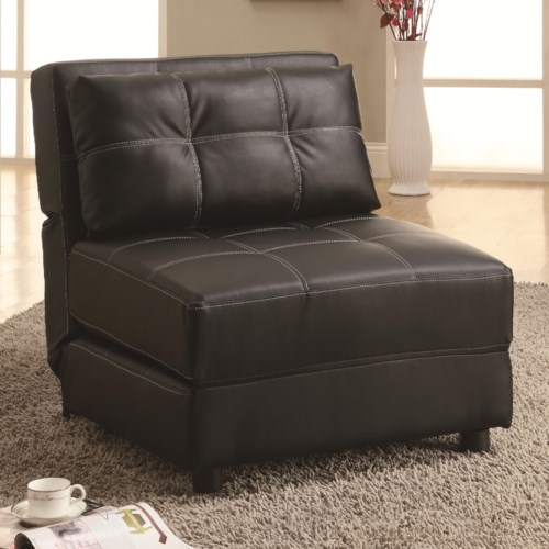 coaster accent seating contemporary armless lounge chair sofa bed