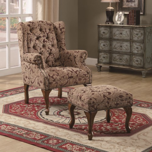 Coaster Accent Seating Traditional Tufted Wing Back Chair And