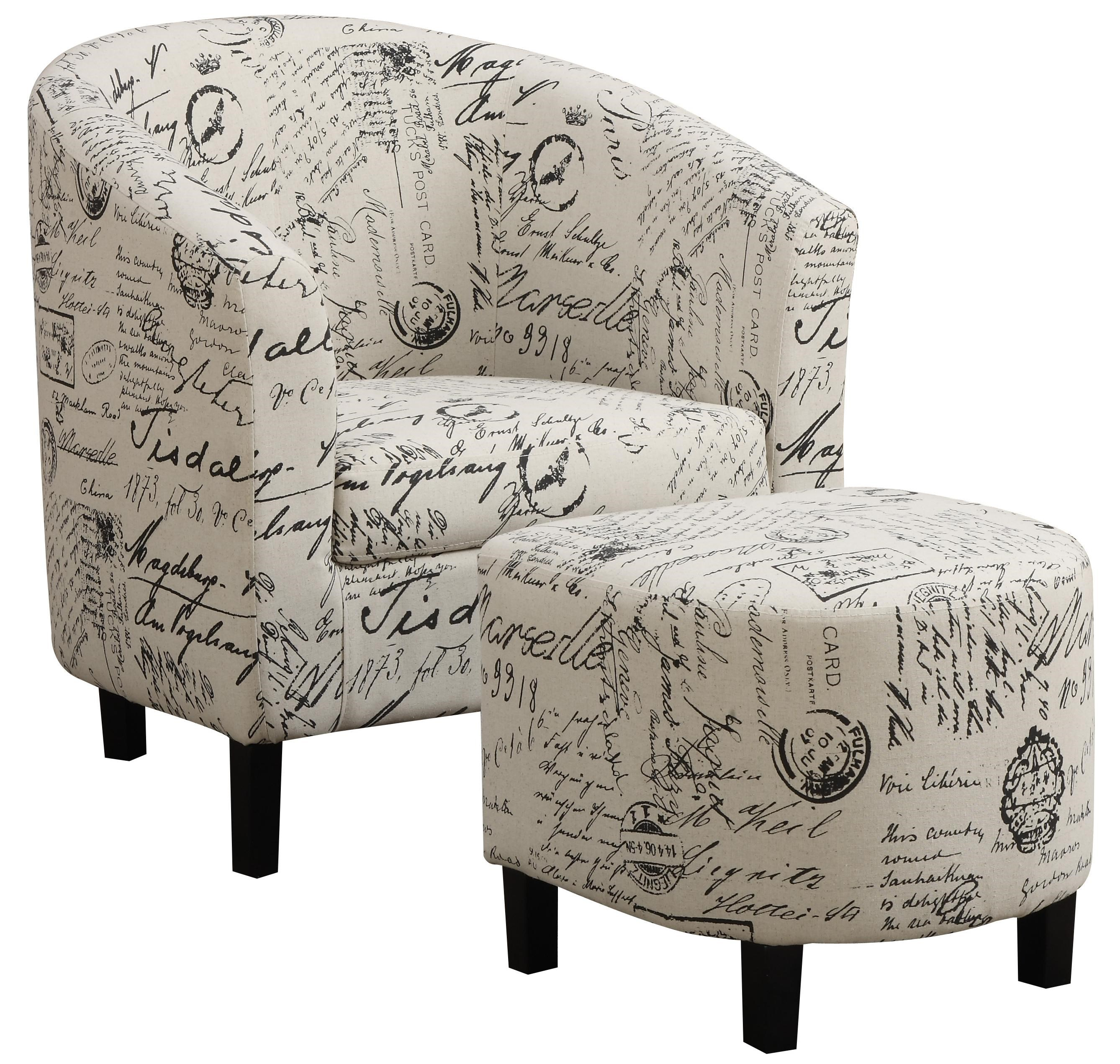 Coaster Accent Seating Two Piece Accent Chair And Ottoman Set In French  Script Pattern   Coaster Fine Furniture