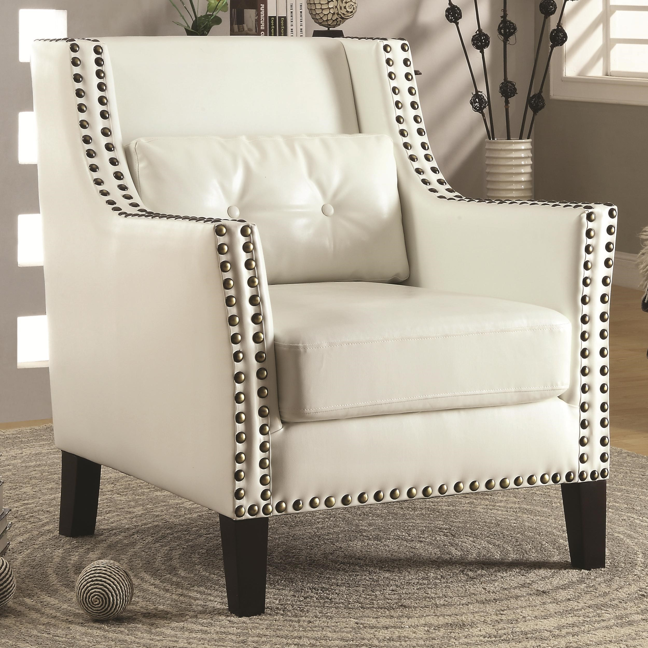 ... Accent Seating Transitional Wing Chair. Shown With White Faux Leather