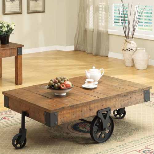 Coaster Accent Tables Distressed Country Wagon Coffee Table ...