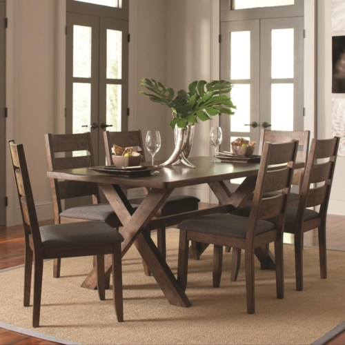 Coaster alston rustic 7 pc table chair set coaster for 3 pc dining room set