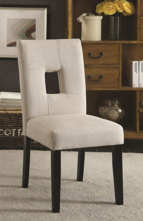 Coaster Andenne Upholstered Side Chair with Square Cutout