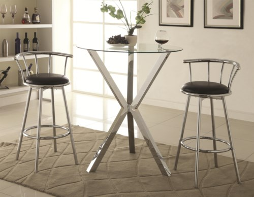 Coaster Bar Units and Bar Tables 3 Piece Pub Table Set with Swivel Bar Stools Coaster Fine Furniture