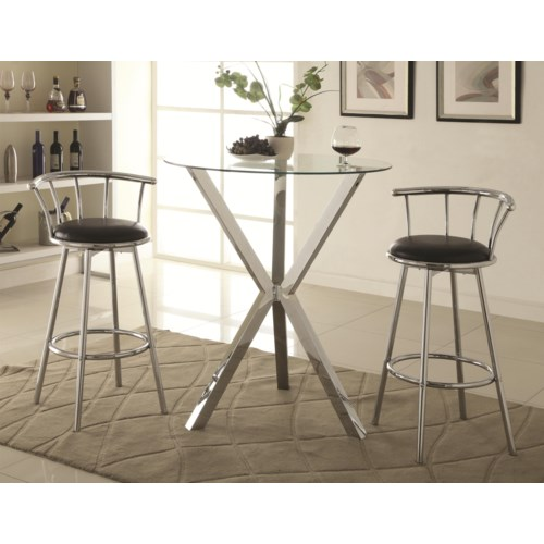 Coaster Bar Units And Tables 3 Piece Pub Table Set With Swivel Stools Fine Furniture