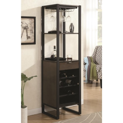 Coaster Bar Units And Tables Wine Tower With Bottle Gl Storage Fine Furniture