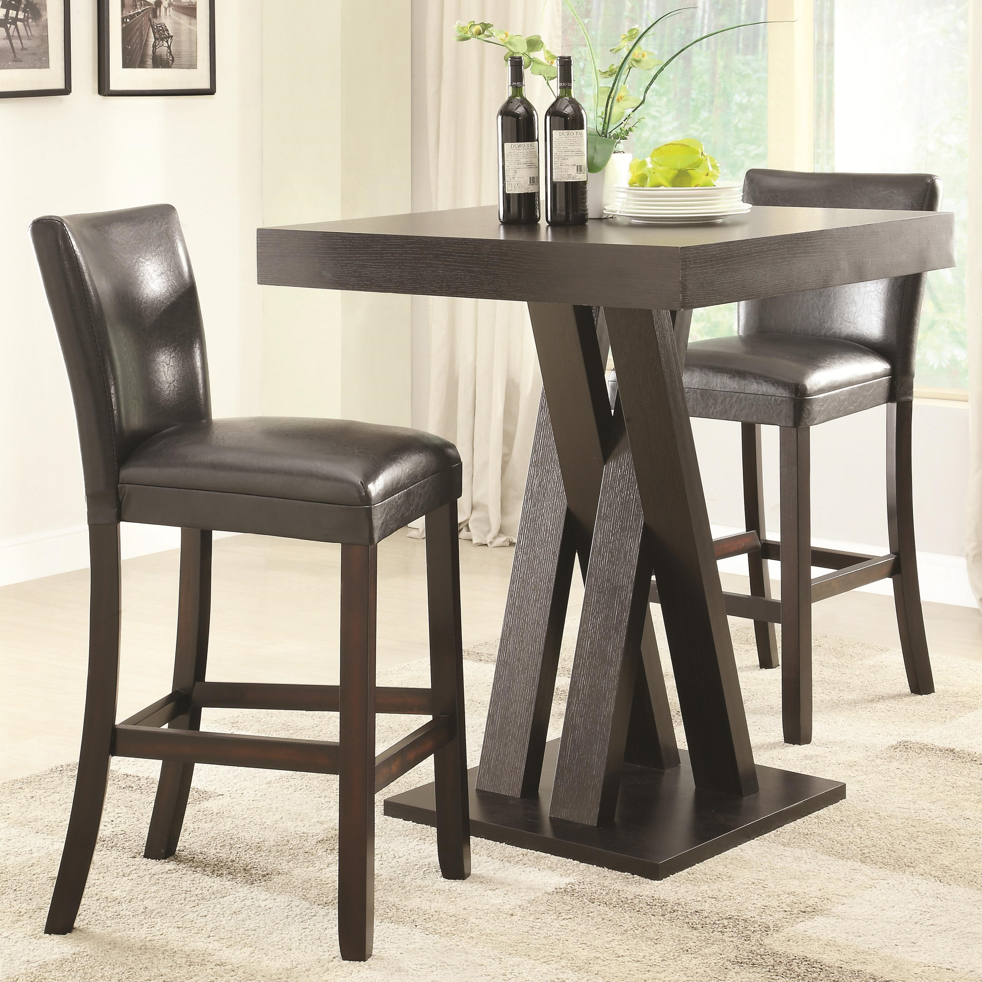 Coaster Bar Units and Bar Tables Three Piece Bar Height Table and Stools Set - Coaster Fine Furniture & Coaster Bar Units and Bar Tables Three Piece Bar Height Table and ...