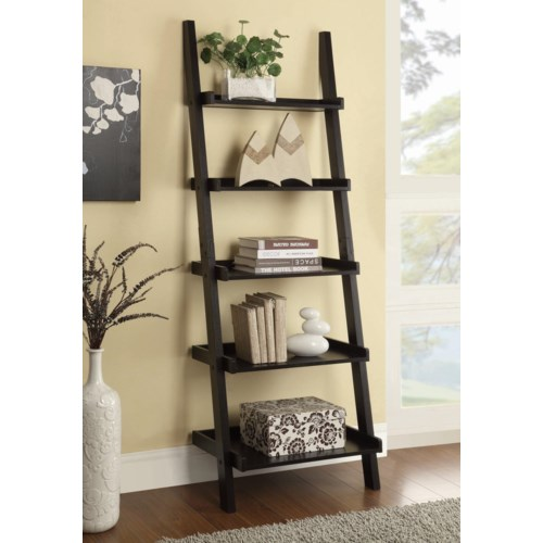 Coaster bookcases cappuccino ladder bookcase with 5 shelves coaster fine furniture - Minimalist images of bookshelves with ladder for home interior decoration ...