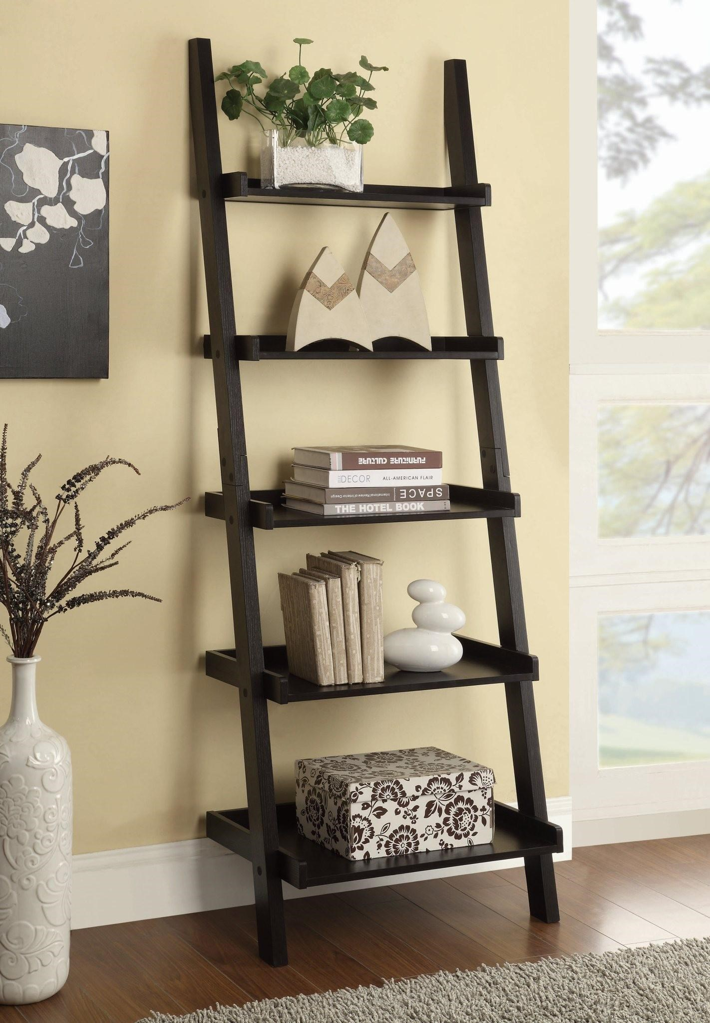 Bookcases Cappuccino Ladder Bookcase With 5 Shelves. Part Of The Bookcases  Collection By Coaster