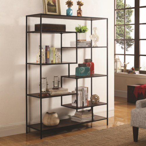 Coaster Bookcases Modern Bookcase With Offset Shelves Fine Furniture