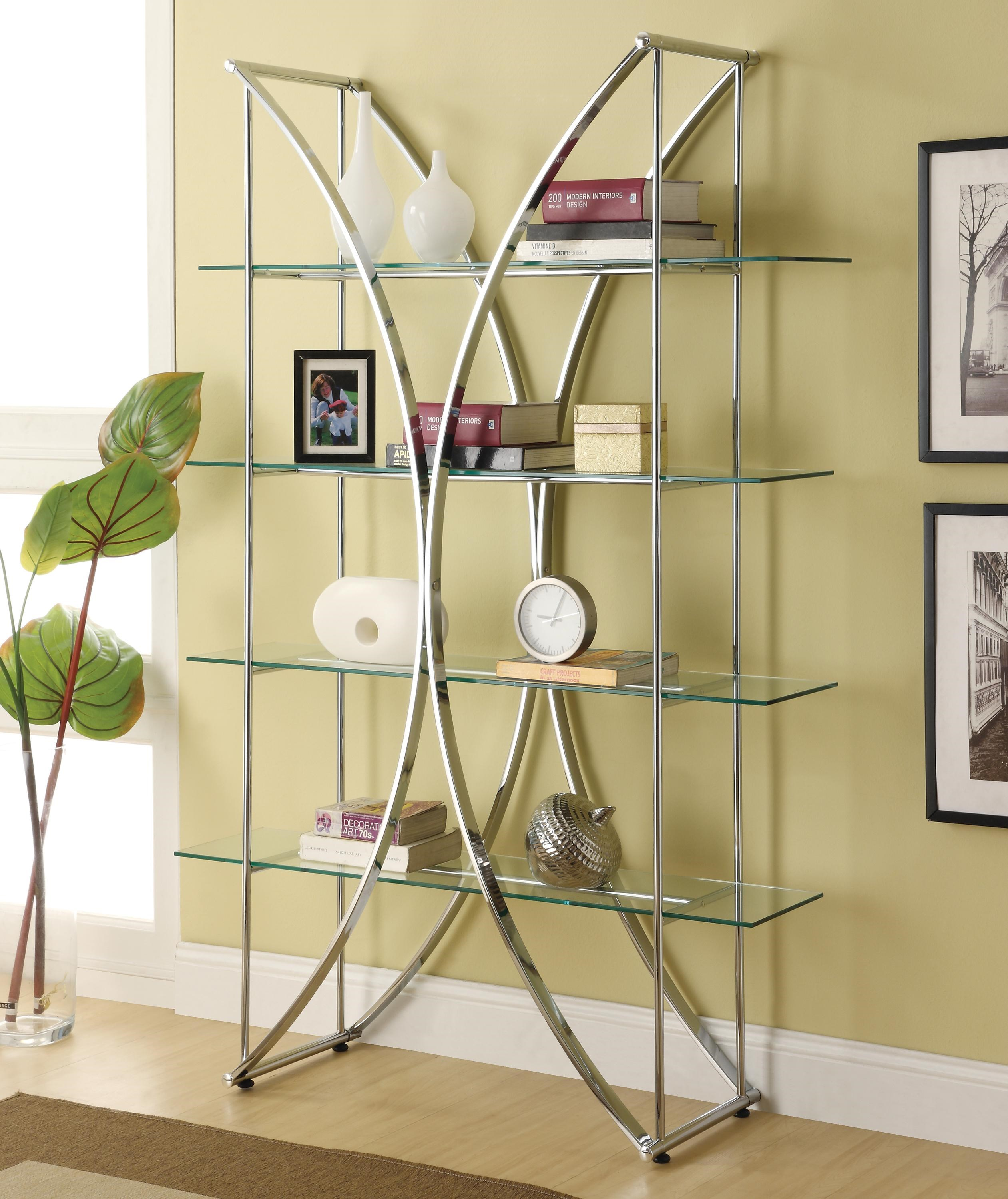 Bookcases X Motif Chrome Finish Bookshelf With Floating Style Glass Shelves.  Part Of The Bookcases Collection By Coaster