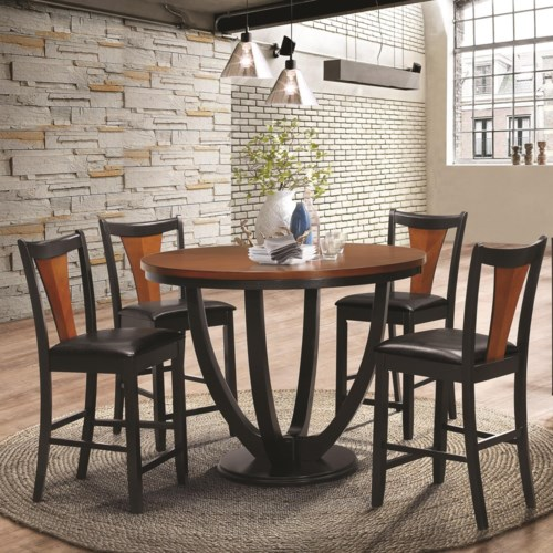 Coaster Boyer Contemporary 5 Piece Counter Height Table and Chair ...