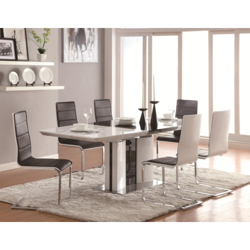 Coaster Broderick Contemporary 7 Piece White Dining Table Set with ...
