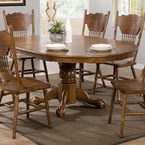 Coaster Brooks Oak Finish Round/Oval Dining Table with Single ...
