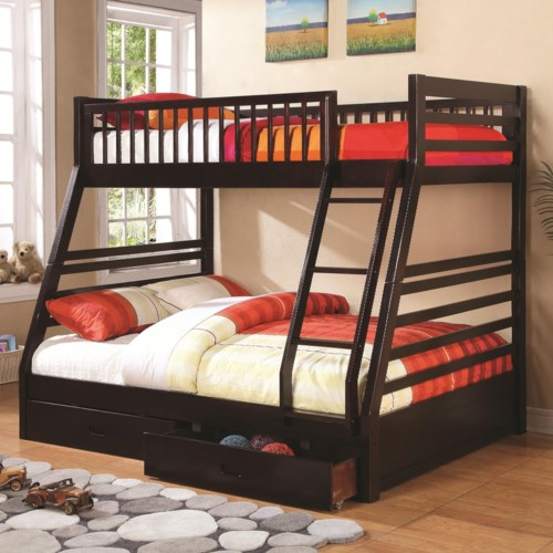 Coaster bunks twin over full bunk bed with 2 drawers and attached ladder coaster fine furniture - Beds with desks attached ...