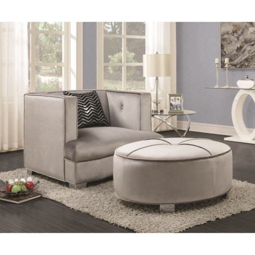 Upholstered Chair And Ottoman coaster caldwell contemporary upholstered chair and ottoman