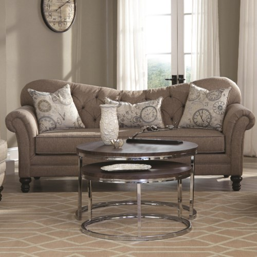 Coaster Carnahan Traditional Sofa with Tufted Reverse Camel Back ...