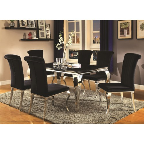Upholstered Chairs Dining Room dining room furniture stencil ideas glass top table luxurious grey upholstered chair sleek white chairs Coaster Carone Contemporary Glam Dining Room Set With Upholstered Chairs Coaster Fine Furniture