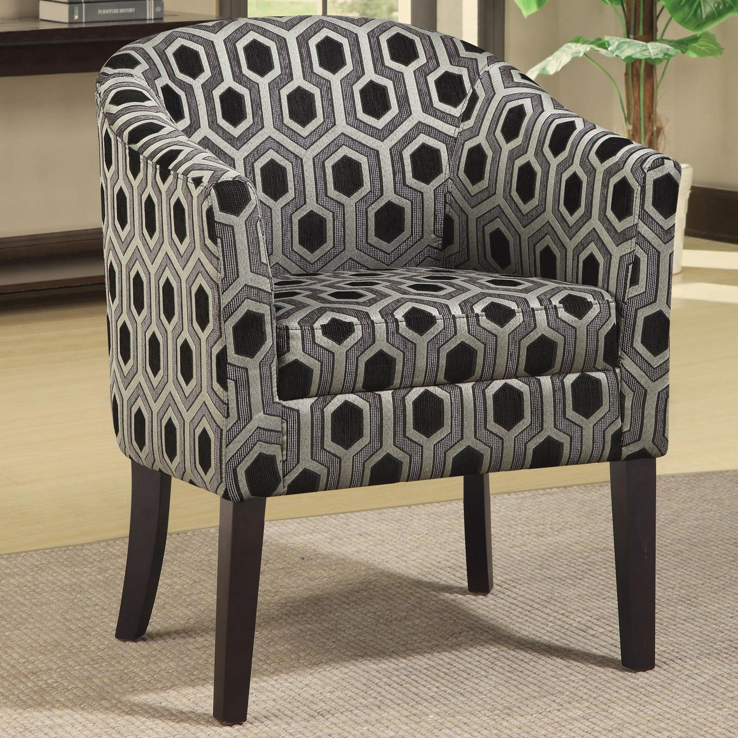 Beau Coaster Charlotte Hexagon Patterned Accent Chair With Wood Legs   Coaster  Fine Furniture
