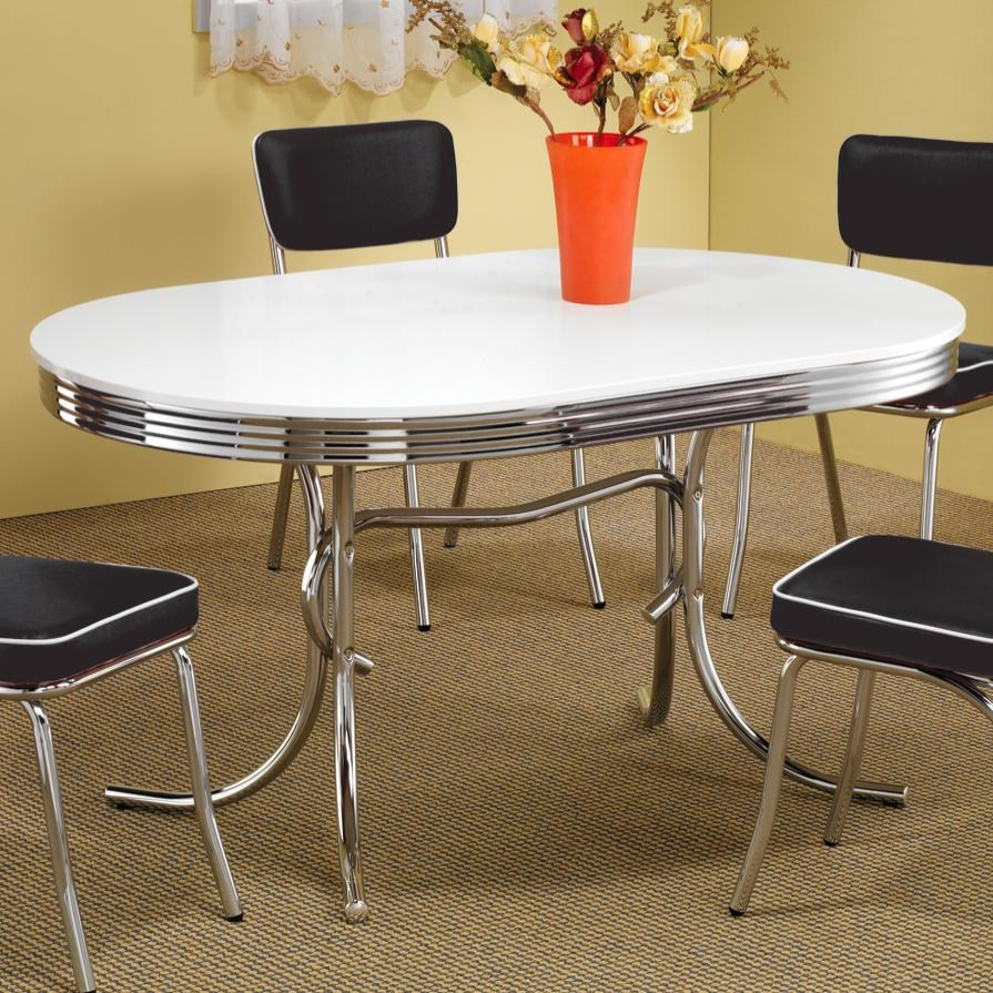 Coaster Cleveland Chrome Plated Oval Dining Table   Coaster Fine Furniture