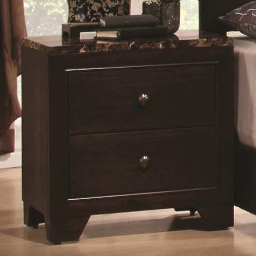 Coaster Conner Nightstand with Faux Marble Top