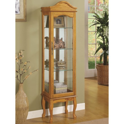 Coaster Curio Cabinets 4 Shelf Wood Curio Cabinet with Glass Panels & Curved Legs