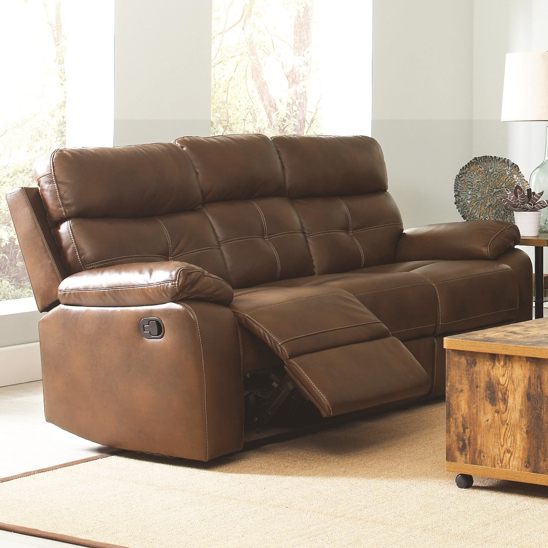 Coaster Damiano Casual Faux Leather Reclining Sofa With Button Tuft  Detailing   Coaster Fine Furniture