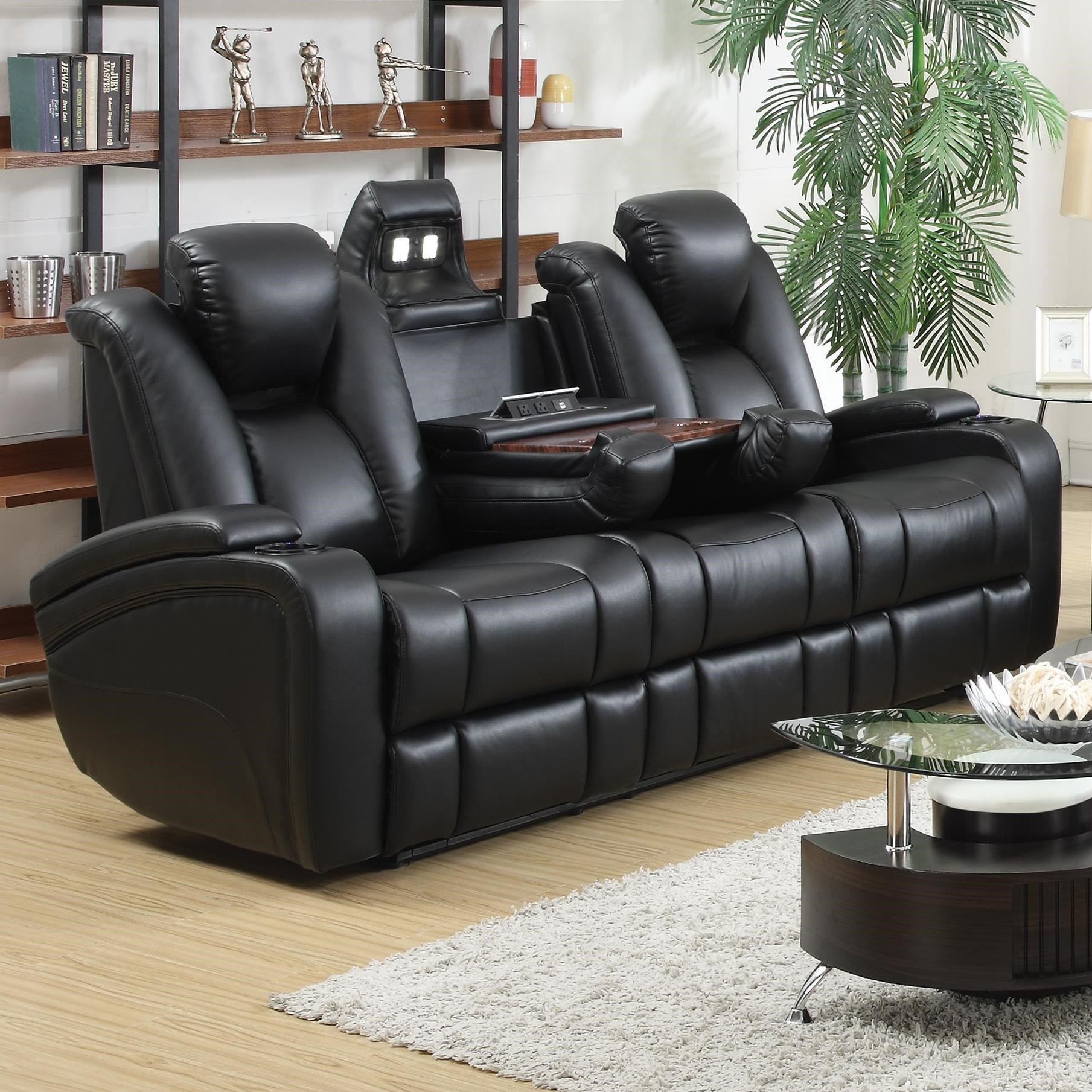 Coaster Delange Reclining Power Sofa with Adjustable Headrests u0026 Storage in Armrests - Coaster Fine Furniture : couches with recliners built in - islam-shia.org