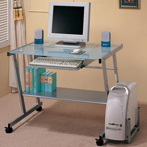 Coaster Desks Contemporary Computer Desk with Computer Storage and Casters