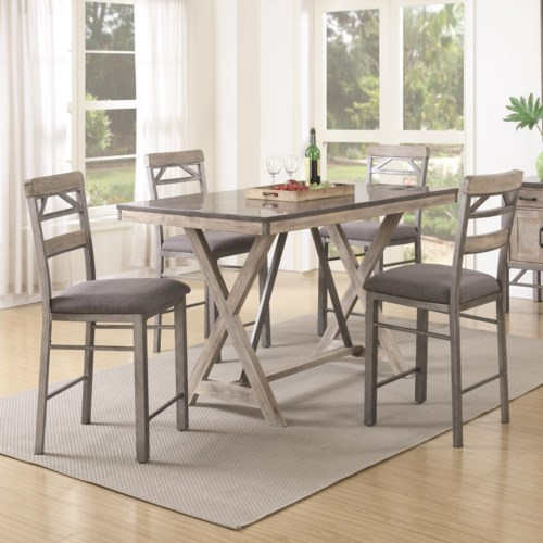 Coaster Edmonton 5 Piece Counter Height Table Amp Chair Set