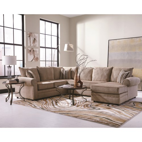 Coaster fairhaven cream colored u shaped sectional with for U shaped couch living room furniture