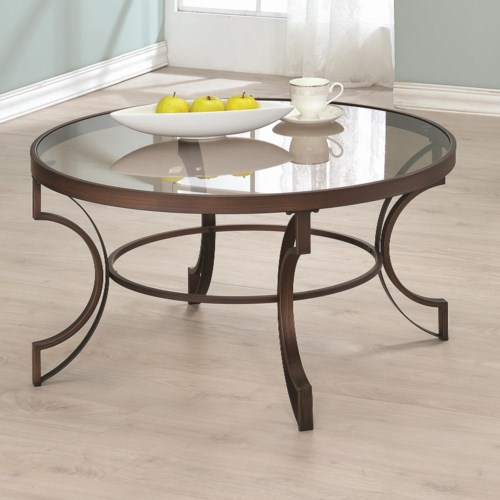 Coaster Fairhaven Round Coffee Table With Bronze Metal Frame Coaster Fine Furniture