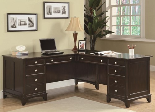 Coaster Garson L Shaped Desk With 8 Drawers Coaster Fine