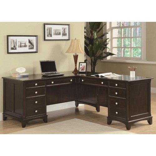 Coaster garson l shaped desk with 8 drawers coaster fine - Home office furniture l shaped desk ...