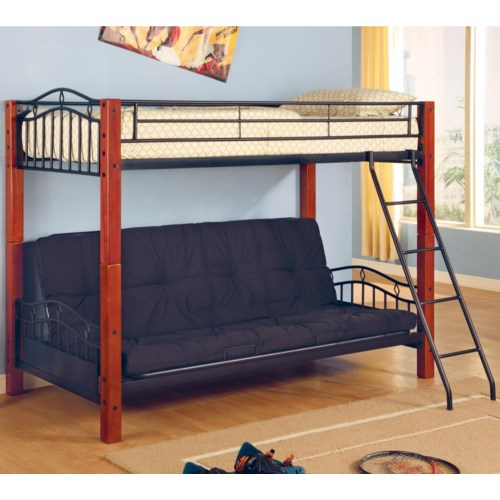 Coaster Haskell Metal and Wood Casual Twin over Futon Bunk Bed - Coaster  Fine Furniture - Coaster Haskell Metal And Wood Casual Twin Over Futon Bunk Bed