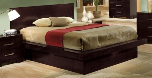 Coaster Jessica King Platform Bed With Rail Seating And